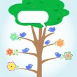 Greeting card with birds under tree. vector — Stock Vector