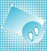 Bébé garçon annonce carte bleu — Vecteur