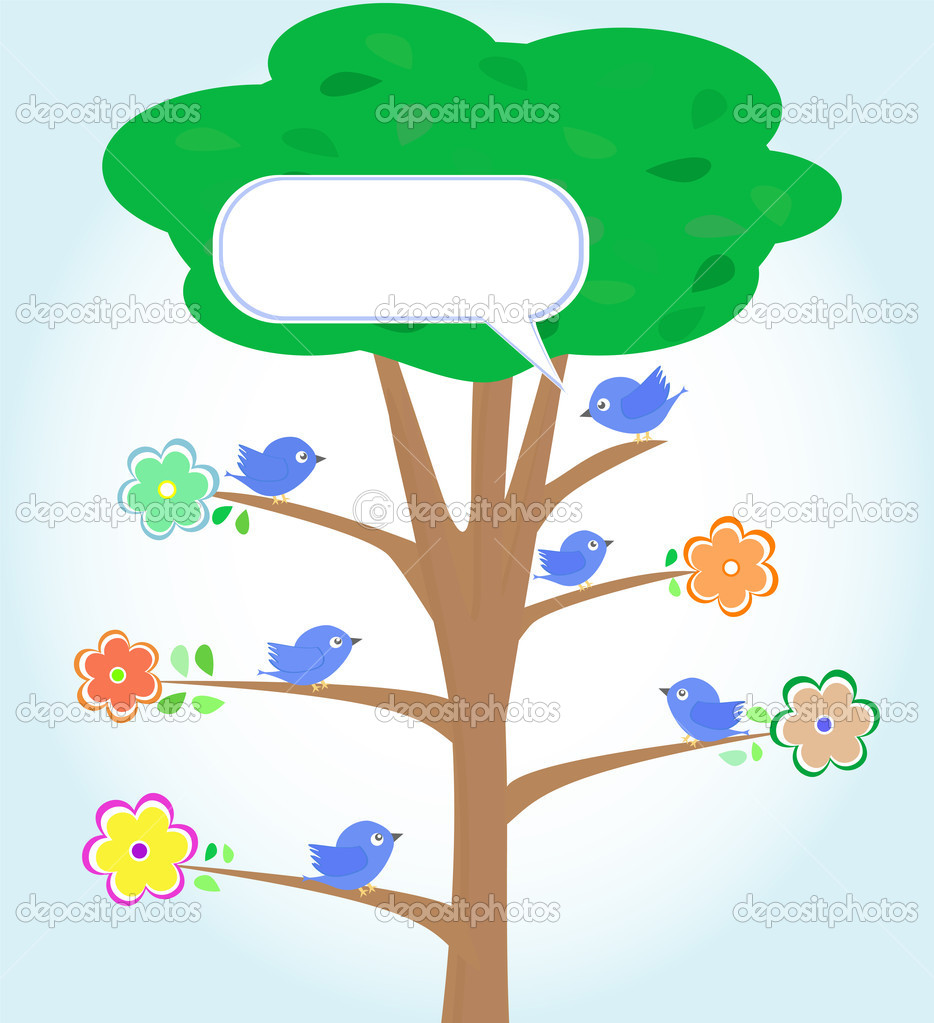 Greeting card with blue birds under tree vector — Imagen vectorial #6933372