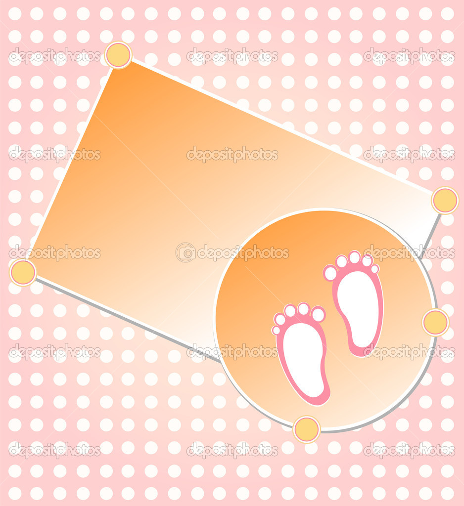 Baby girl arrival announcement card background vector — Stock Vector #6943224