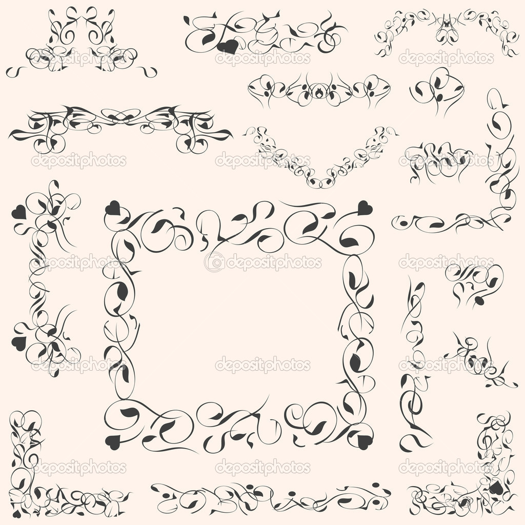 Set calligraphic vintage design elements and page decoration vector  Stock Vector #6944212