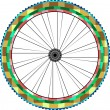 Front wheel of a mountain bike isolated on white vector — Stock Vector