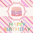 Vector happy birthday card with cute cake card — Stock Vector