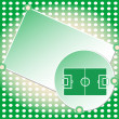 图库矢量图片: Soccer football field green greetings card vector