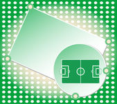 Soccer football field green greetings card vector — Stock Vector
