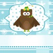 Cartoon cute owl winter greetings card vector background — Stock Vector