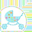 Vector Baby boy arrival announcement greeting card — Vector de stock