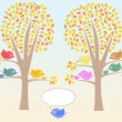 Greeting card with cute birds under tree vector — Stockvectorbeeld