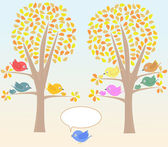 Greeting card with cute birds under tree vector — 图库矢量图片