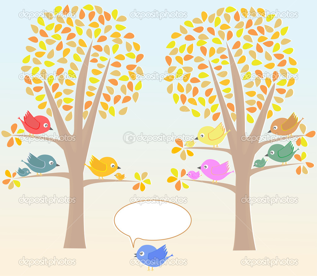 Greeting card with cute birds under tree vector  Stock Vector #7149999