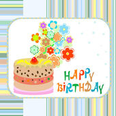 Cake and flowers happy birthday greeting vector background — Stock Vector
