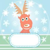 Vector Xmas card with Rudolph the Reindeer — Stock Vector