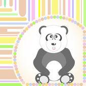 Karty pozdrowienia z panda siedzący uśmiechający się. wektor — Wektor stockowy