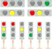 Set of textile Traffic light isolated on white background vector — Stock Vector