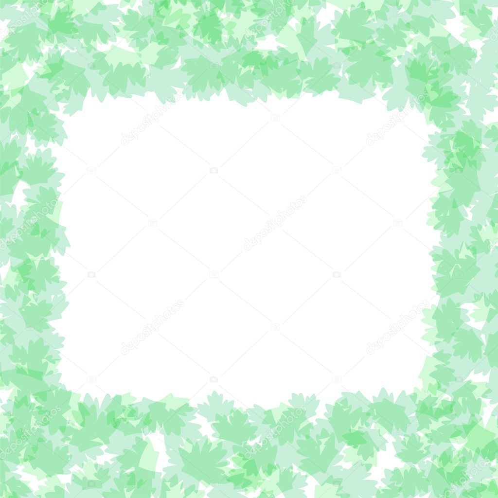 Vector Foliage frame with summer nature leaves background — Stock Vector #7238801