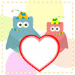 Royalty-Free Stock Vector Image: Cute vector love owl with heart background