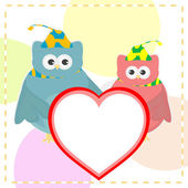 Cute vector love owl with heart background — Stock Vector
