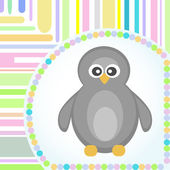 Template frame design for penguin greeting card — Vector de stock