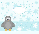 Penguin winter snowflake background greeting card vector — Vector de stock