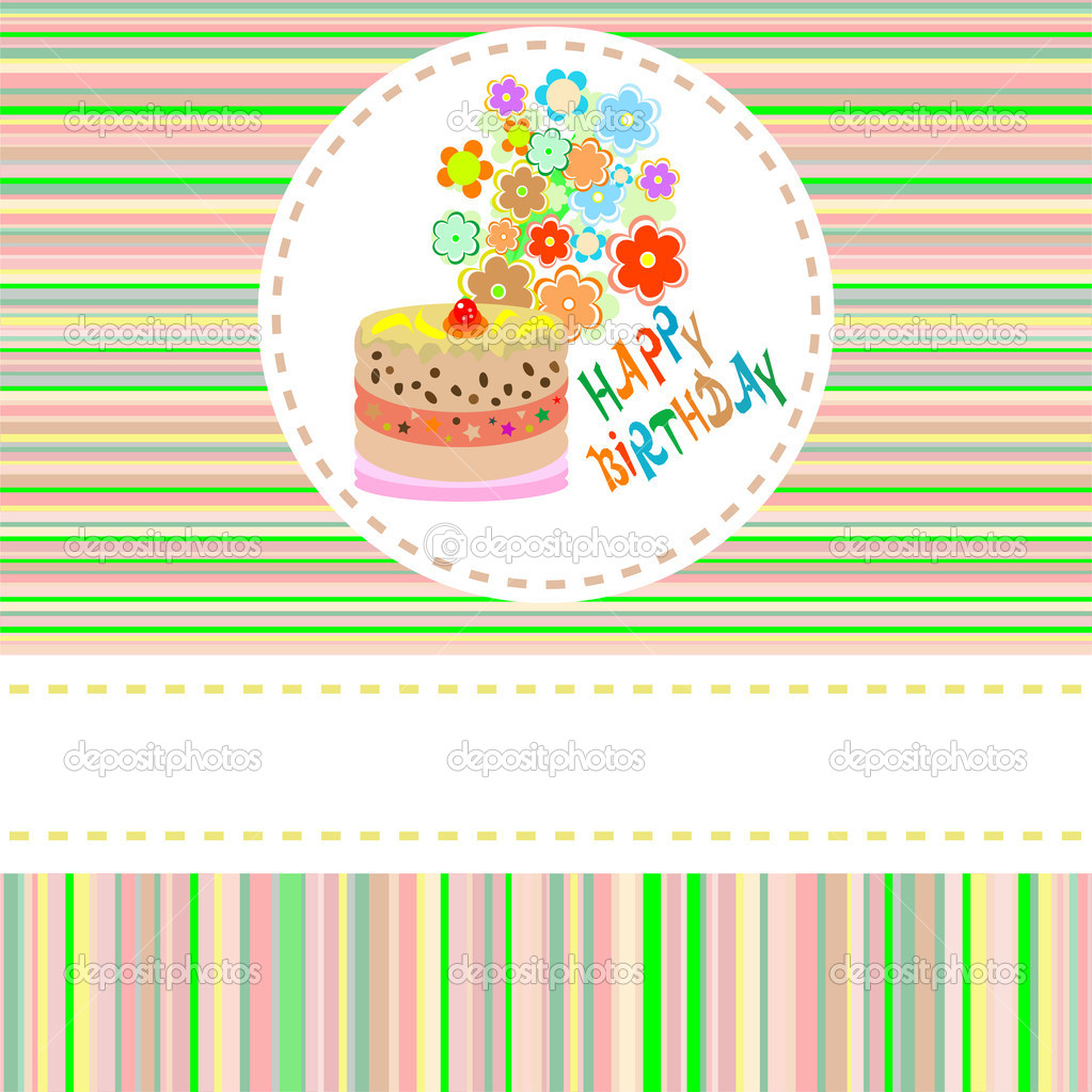 Cute flower and cake happy birthday background vector — Stock Vector #7250047