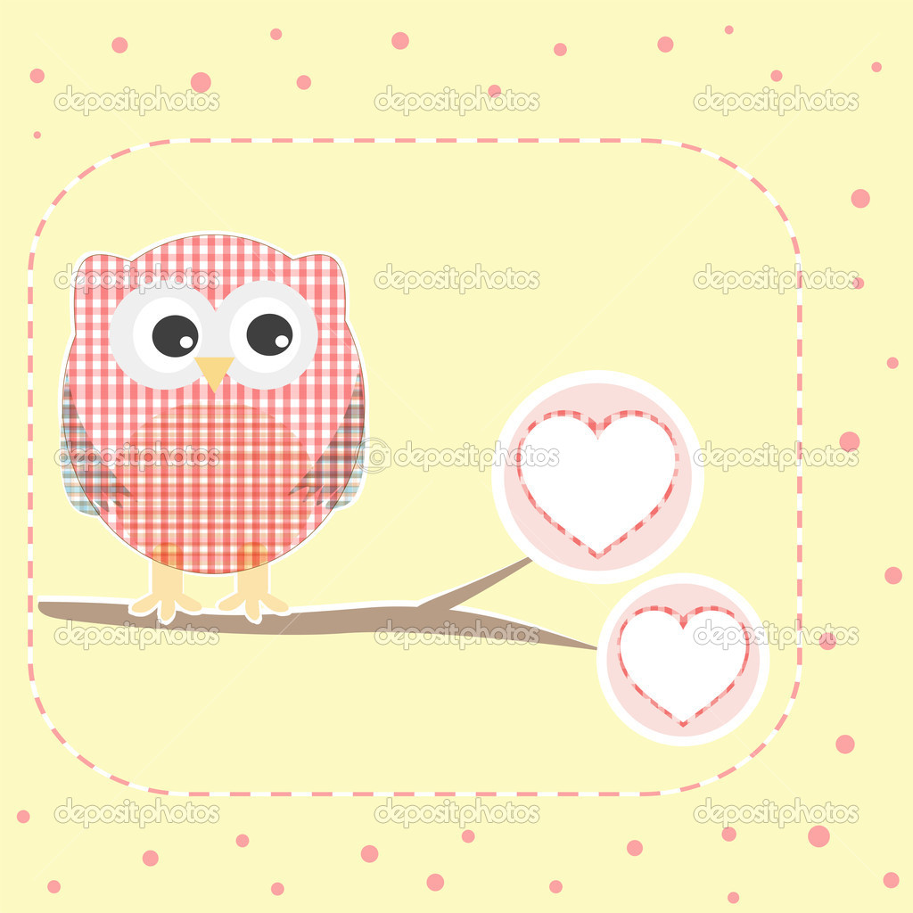 Vector autumn love background with textile owls   Stok Vektr #7250858
