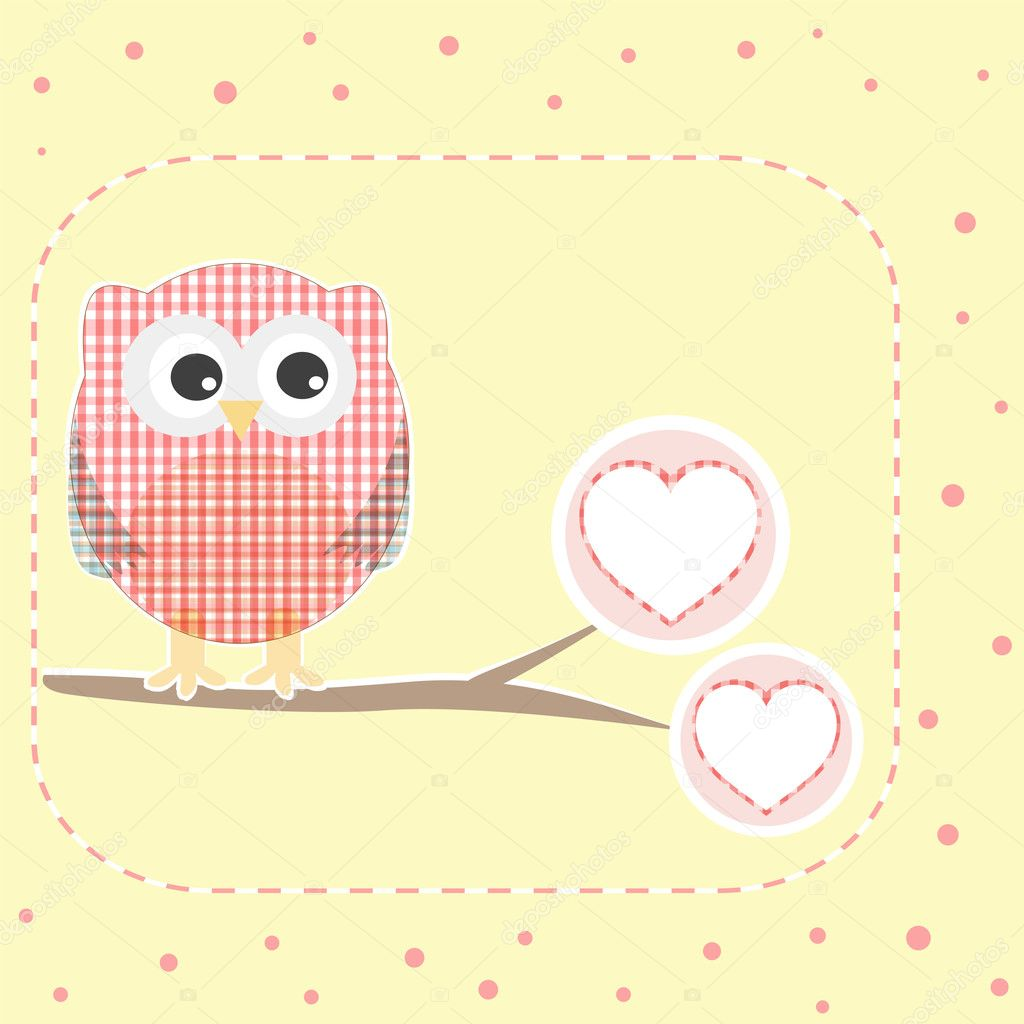 Vector autumn love background with textile owls  — 图库矢量图片 #7250858