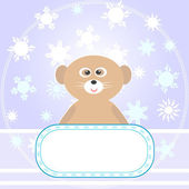 Baby Bear greetings card with snowflakes Vector — 图库矢量图片