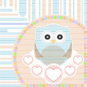 Textile cute little owl with love heart vector — Stock Vector