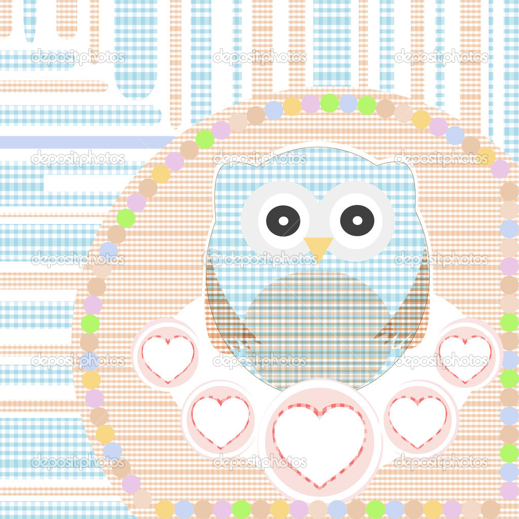 Vector textile cute little owl with love heart  Stock Vector #7265411