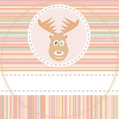 Cute deer face animal on brown background vector — Stock Vector
