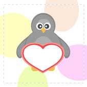 Cute vector penguins holding love heart card — ストックベクタ