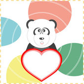 Love panda with the heart on a background vector — Stock Vector