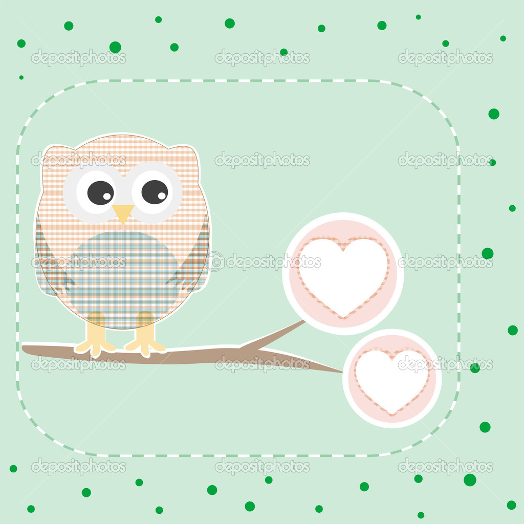 Cute love owl on the branch birthday vector card  Stock Vector #7404556