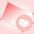 White bird on red vector greeting card background — Stockvectorbeeld