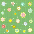 Hand drawn floral background with set of different flowers vector — Vettoriali Stock