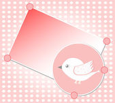 White bird on red vector greeting card background — Stock Vector