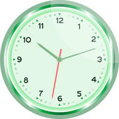 Wall clock vector green Vintage isolated on white — Vettoriale Stock