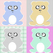 Very Cute Teddy Bear vector set — Stok Vektör
