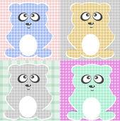 Very Cute Teddy Bear vector set — Stock Vector
