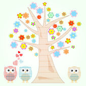 Vector cute little owls in love tree and flowers — Stock Vector
