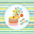 Happy birthday cakes flower design. vector Celebration card — Stock Vector