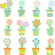 Spring Flowers In Pots Isolated On White - Stock Vector