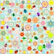 Flowers and ladybugs seamless pattern background — Stock Vector