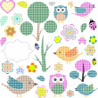 Set of nature textile stickers — Stock Vector