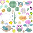 Set of nature textile stickers — Stock Vector #7828284