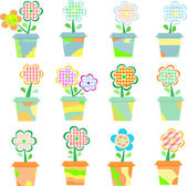 Spring Flowers In Pots Isolated On White — Stock Vector