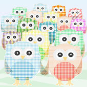Owls Collection cute and colorful. vector — Stock Vector