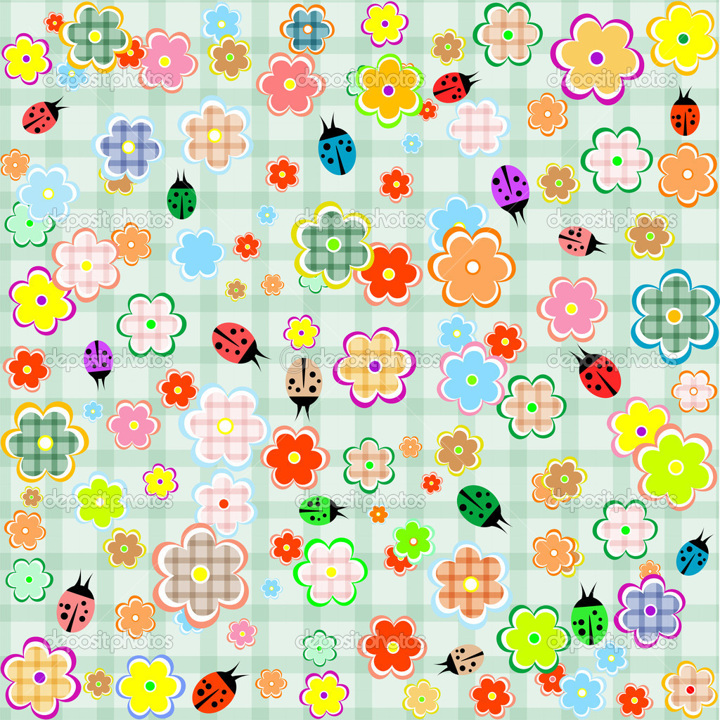 Flowers and ladybugs seamless pattern. vector background — Stock Vector #7826683