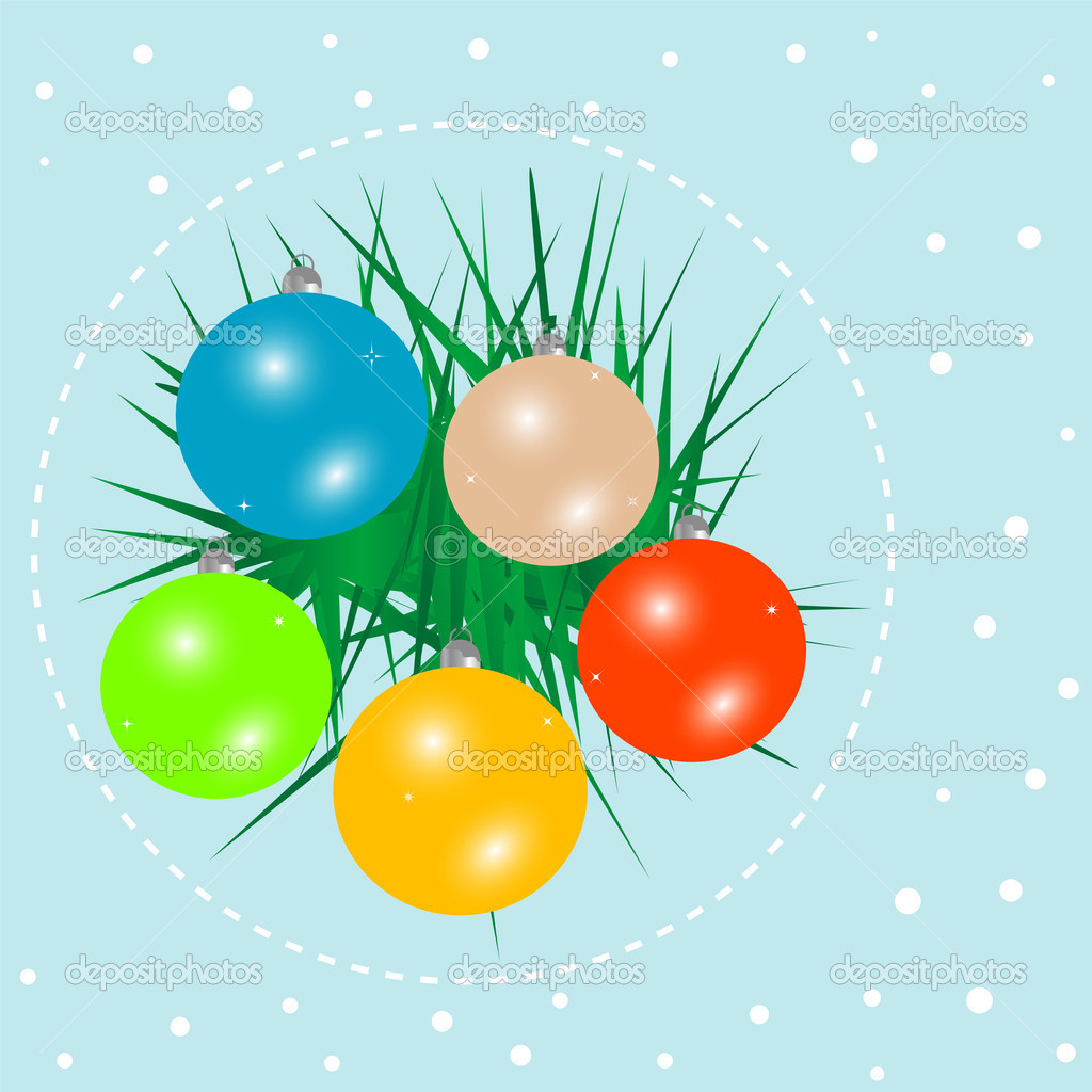 Christmas ball on green spruce branch. new year vector card  Stock Vector #7827057