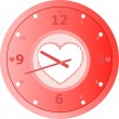 Royalty-Free Stock Vector Image: Red love Clock with heart shaped in dial plate Vector